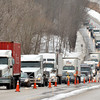 WARREN DILLAWAY / Star Beacon<br /> ROUTE 7 continued to be a busy road on Friday as traffic was diverted from Interstate 90 through  Conneaut after a truck damaged a bridge over Interstate 90 on Pond Road in Springfield Township, Pa. on Thursday.