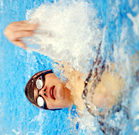 WARREN DILLAWAY / Star Beacon<br /> CORY STEWART of Edgewood competes in the in the boys 100 yard back stroke  on Saturday at Spire Institute in Harpersfield Township.