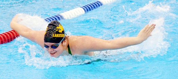 WARREN DILLAWAY / Star Beacon<br /> MALYNDA RUSSELL of Lakeside competes in the 100 yard butterfly on Saturday at Spire Institute in Harpersfield Township.