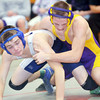 WARREN DILLAWAY / Star Beacon<br /> CLAY FERTIG (left) of Conneaut wrestles Cody Charvat of Berkshire durinng a 138 pound bout at Egewood on Saturday. Charvat registered thes 100th win of his high school career with a win over Fertig.