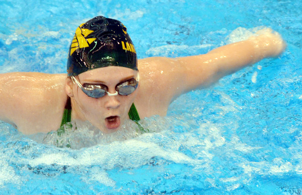 WARREN DILLAWAY / Star Beacon<br /> ALI HAMILTON of Lakeside competes in the 100 yard butterfly on Saturday at Spire Institute in Harpersfield Township.