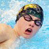 WARREN DILLAWAY / Star Beacon<br /> TYLER EMERSON of Lakeside swims in the Boys 400 yard Freestyle Relay on Saturday at Spire Institute.