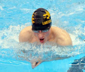 WARREN DILLAWAY / Star Beacon CALEB HENERY of Lakeside wins the boys 100 yard breast stroke on Saturday at Spire Institute.