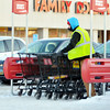 GATHERING CARTS at Giant Eagle in Saybrook Township is just one of the jobs that requires warm clothes during the winter months.