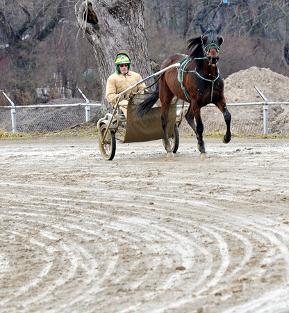 WARREN DILLAWAY / Star Beacon<br /> RON OTTO works out a horse at the Ashtabula County Fairgrounds in Jefferson on Tuesday morning.