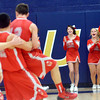 WARREN DILLAWAY / Star Beacon<br /> GENEVA CHEERLEADERS celebrate as Geneva' Ron Varckette (42) lifts Steve Jewell (12) in the air on Tuesday after Jewell helped create a steal that ended the game and gave Geneva a one point victory at Conneaut.