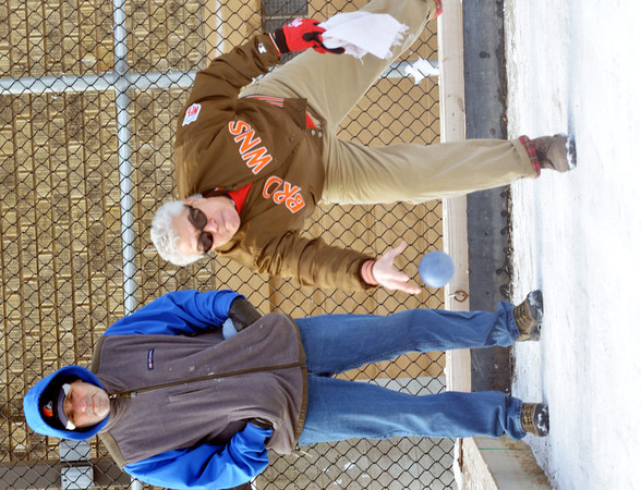 WARREN DILLAWAY / Star Beacon<br /> JOSEPH NAPOLITAN of Ashtabula participates in the First Annual Sons of Italy Outdoor Bocce Tournament on Saturday in Ashtabula under the watchful eye of Larry Mozzocco.