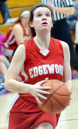 WARREN DILLAWAY / Star Beacon<br /> HALEY HOLDEN of Edgewood prepares to shoot a lay-up on Saturday at Conneaut.