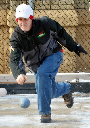 WARREN DILLAWAY / Star Beacon<br /> DOUG CARTER of Wickliffe participates in the First Annual Sons of Italy Outdoor Bocce Tournament on Saturday in Ashtabula.