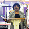 WARREN DILLAWAY / Star Beacon<br /> DORIS THOMPSON leads singing during a Martin Luther KIng Jr. memorial service on Monday afernoon at Hiawatha Church of God in Christ in Ashtabula.