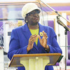 WARREN DILLAWAY / Star Beacon<br /> WILLIETTA MARBURY speaks during a Martin Luther KIng Jr. memorial service on Monday afernoon at Hiawatha Church of God in Christ in Ashtabula.
