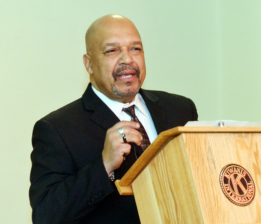 WARREN DILLAWAY / Star Beacon<br /> REVEREND GERMAN WOMACK JR., of Peoples Baptist Church, kicks off a memorial to Martin Luther King Jr. on Monday morning at St. Peter's Episcopal Church in Ashtabula. The event was sponsored by the Kiwanis Club of Ashtabula.
