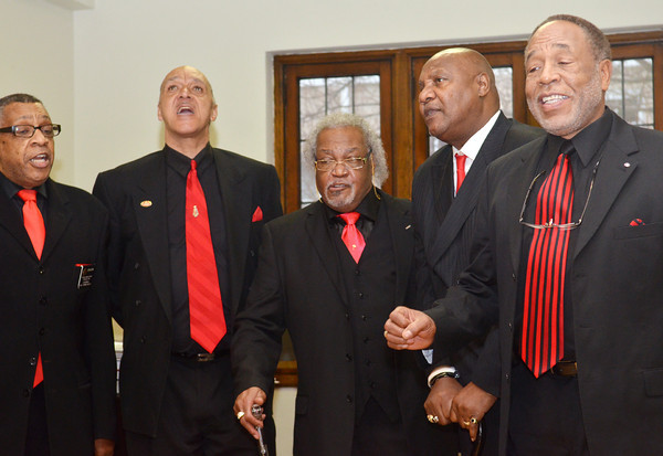 WARREN DILLAWAY / Star Beacon<br /> THE PEOPLE'S BAPTIST CHURCH MENS CHOIR performs on Monday morning during a memorial to Dr. Martin Luther King Jr. at St. Peter's Episcopal Church in Ashtabula. The event was sponsored by the Kiwanis Club of Ashtabula.