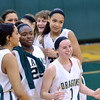 "WARREN DILLAWAY / Star Beacon<br /> KRISTEN KEASLING (1) and Lakeside teammates Brianna Scruggs (left foreground) and Shy""Questa Pollard (23) celebrate after winning a home game against Riverside."