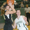 WARREN DILLAWAY / Star Beacon<br /> KRISTEN KEASLING (1) of Lakeside defends Brianna Prugel on Saturday during a home game with Riverside.
