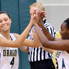 WARREN DILLAWAY / Star Beacon<br /> SHARISSE HUNT (4) and Lakeside teammate Shy'Questa Pollard celebrate in the waning seconds of a victory over Riverside on Saturday in Ashtabula Township.