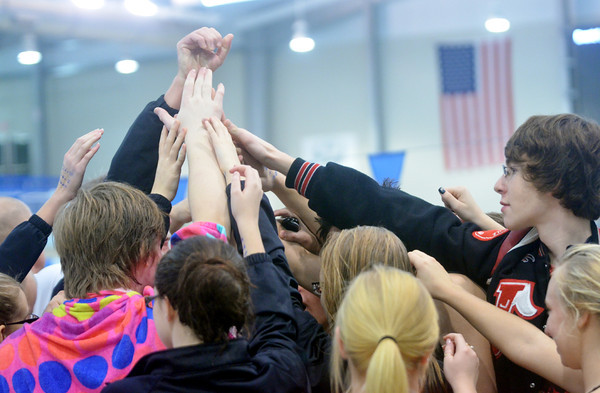 WARREN DILLAWAY / Star Beacon<br /> JEFFERSON SWIMMERS after finishing second at the Belva J. Boone Ashtabula County Swim Meet on Saturday at Spire Institute in Harpersfield Township.
