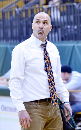 WARREN DILLAWAY / Star Beacon<br /> DAVE MALONE, Lakeside girls basketball coach, reacts to a play during a home game with Riverside on Saturday.