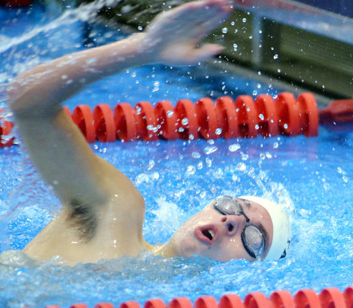 WARREN DILLAWAY / Star Beacon<br /> CODY LOWE of Jefferson takes a breath during the 400 meter freestyle relay on Saturday at the Belva J. Boone Ashtabula County Swim Meet at Spire Institute in Harpersfield Township.