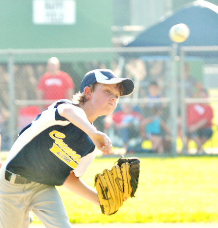 WARREN DILLAWAY / Star Beacon<br /> NICK MORRIS of the Conneaut Minor League All Stars pitches on Monday night during a game at Cederquist Park in Ashtabula.