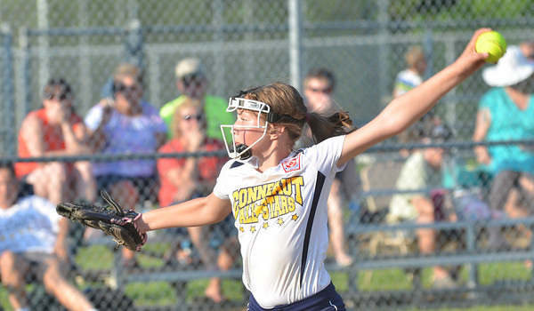 WARREN DILLAWAY / Star Beacon<br /> ANALEE HAGSTROM pitches for the Conneaut Minor League All Stars on Tuesday evening at Cederquist Park in Ashtabula.