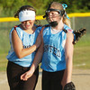 WARREN DILLAWAY / Star Beacon<br /> KYLIE SHAUGNESSY (left) congratulates Geneva United teammate and pitcher Kayla Lindberg after they defeated Conneaut in a Minor League District 1 championship game at Carraher Field in Geneva.