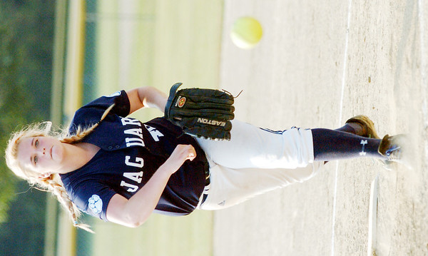 WARREN DILLAWAY / Star Beacon<br /> EMMA ORVOS of the 18 and Under Ohio Jaguars-Ettinger pitches on Friday at the Jefferson Area Softball Complex.