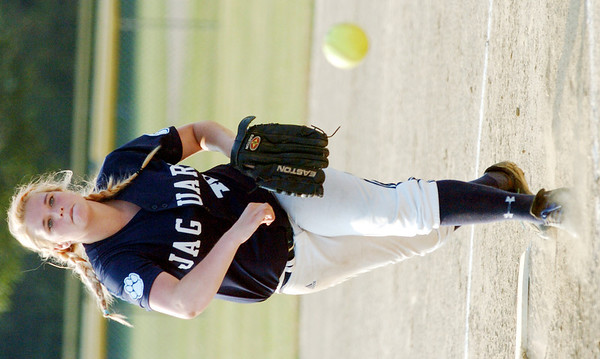 WARREN DILLAWAY / Star Beacon<br /> EMMA ORVOS pitches for the 18 and under Ohio Jaguars-Ettinger on Friday night during the Jaguars tournament at the Jefferson Area Girls Softball complex.