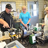 WARREN DILLAWAY / Star Beacon<br /> CRAIG PIERCE, superintendent of the Conneaut Wastewater Treatment Plant, conducts a tour of the facility on Saturday. Nova Campbell (right) of Ashtabula and Mary Ann Pollock of North Kingsville stopped by to check out the plant. Plant officials also offered brand new digital theremometers in exchange for old mercury based thermometers.