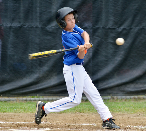 WARREN DILLAWAY / Star Beacon<br /> ANDREW MIHALICK takes a swing for the Ashtabula Major League All Stars on Saturday during opening round state tournament action at Cederquist Park in Ashtabula.