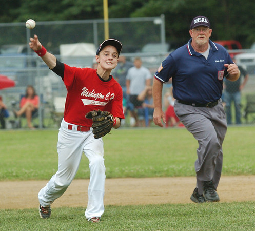 WARREN DILLAWAY / Star Beacon<br /> BRADY HALL of the Washington Court House Major League All Stars fires to first base on Monday during state tournament action at Cederquist Park in Ashtabula.