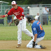 WARREN DILLAWAY / Star Beacon<br /> RON NICKLE of the Ashtabula Major League All Stars arrives safely at second base as Brady Hall of Washington Court House tries to manage a late throw on Monday during state tournament action at Cederquist Park in Ashtabula.