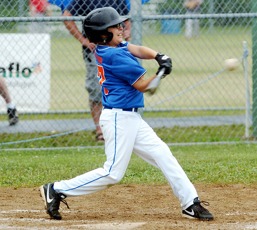WARREN DILLAWAY / Star Beacon<br /> ALEX TULINO of the Ashtabula Major League All Stars takes a cut at the ball on Monday during state tournament action at Cederquist Park in Ashtabula.