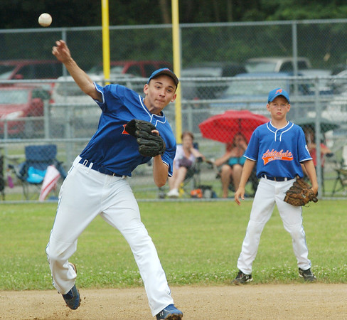WARREN DILLAWAY / Star Beacon<br /> RON NICKLE of the Ashtabula Major League All Stars fires to first base with shortstop Andrew Mihalic watching on Monday during state tournament action at Cederquist Park in Ashtabula.