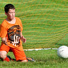 WARREN DILLAWAY / Star Beacon<br /> COLE VENNIS, a sixth grader in the Geneva Area City Schools, works on his goalie skiils during the Mike Mikulin Memorial Soccer Camp in Geneva on Tuesday evening.