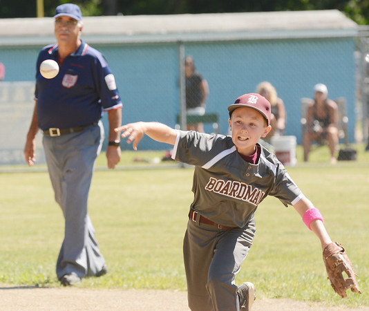 WARREN DILLAWAY / Star Beacon<br /> GRIFFIN SCHANTZ of the Boardman Major League All Stars fires to first during state tournament action at Cederquist Park in Ashtabula on Friday afternoon.