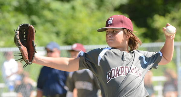WARREN DILLAWAY / Star Beacon<br /> CAMERON KREBS of the Boardman Major League All Stars pitches to a Hamilton batter during state tournament action at Cederquist Park in Ashtabula on Friday afternoon.