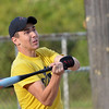 WARREN DILLAWAY / Star Beacon<br /> GABE MCLEOD of Geneva Spinal Health takes a swing on Monday evening   during Ashtabula Recreation League softball action at Massuci Field.