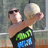WARREN DILLAWAY / Star Beacon<br /> SARA BLANK of the Fab 4 sets the ball during the Softball City Sand Volleyball League Tuesday evening. The Fab 4 clinched the championship with a win over the Lethal Ladies.