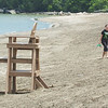 WARREN DILLAWAY / Star Beacon<br /> JEANNA BAUGHMAN (left) and Anthony Ramsey, both of Liberty, didn't have much company during a visit to Lake Shore Park beach on Tuesday afternoon in Ashtabula Township.