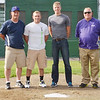 WARREN DILLAWAY / Star Beacon<br /> ZAK BLAIR, (second from left) a graduate of Jefferson High School and Mercyhurst University, and Brandon Easton, (second from right) a graduate of Pymatuning Valley High School and student and baseball player at Lakeland Community College, were re-united with high school coach Scott Barber (far left) and Steve Urcheck (far right) after they were recently drafted by the Chicago Cubs and the Minnesota Twins in the Major League baseball draft.