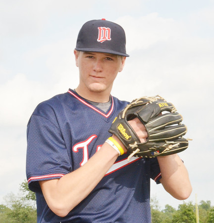 WARREN DILLAWAY / Star Beacon<br /> BRANDON EASTON, a Pymatuning Valley High School graduate and baseball player at Lakeland Community College, displays his Minnesota Twins jersey after being drafted last weekend in the Major League draft.