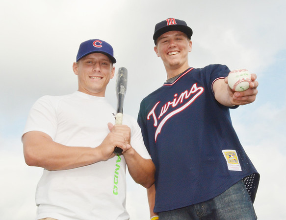 WARREN DILLAWAY / Star Beacon<br /> ZAK BLAIR, (left) a graduate of Jefferson High School and Mercyhurst University, and Brandon Easton, a graduate of Pymatuning Valley High School and student and baseball player at Lakeland Community College, were all smiles after they were recently drafted by the Chicago Cubs and the Minnesota Twins in the Major League baseball draft.