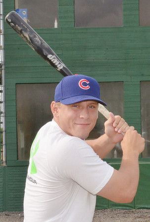 WARREN DILLAWAY / Star Beacon<br /> ZAK BLAIR, a graduate of Jefferson High School and Mercyhurst University, displays his batting stance on Monday after he was recently drafted by the Chicago Cubs in the Major League baseball draft.