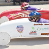 WARREN DILLAWAY / Star Beacon<br /> JENNA WOLFE (foreground) and Jordan Welton break from the starting line Saturday during the Soap Box Derby in Conneaut.