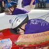 WARREN DILLAWAy / Star Beacon<br /> JAKE SCHREIBER , 12, of Conneaut, prepares to race Saturday during the Soap Box Derby in Conneaut.