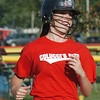 WARREN DILLAWAY / Star Beacon<br /> HOPE HUGHES of Colucci's Pizza runs to first after a walk during a senior league game at the Jefferson Area Girls Softball complex.