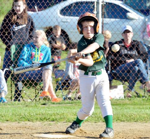 WARREN DILLAWAY / Star Beacon<br /> TED COLEMAN of the Geneva Minor League Prospectors takes a mighty swing on Tuesday during a game with the Geneva Cyclones at Bob Ticknor Memorial Field in Austinburg Township.