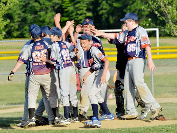 WARREN DILLAWAY / Star Beacon<br /> MEMBERS OF the Grand Valley Tigers Major League team leave the mound after a game withthe Grand Valley Nationals on Tuesday at Community Park in Orwell.
