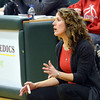 WARREN DILLAWAY / Star Beacon<br /> NANCY BARBO, Geneva girls basketball coach, watches the action on Friday night during Division II district championship action against East Tech at Lakeside.